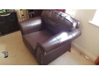FREE BROWN LEATHER SOFA AND ARM CHAIR. COLLECTION ONLY.
