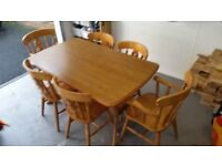 Country style solid oak table and chairs