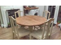 Round pine table with 4 chairs,pine top,cream chalk paint base same as chairs,quick sale needed