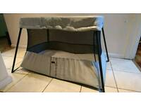 BabyBjörn Travel Cot Silver with mattress & sheet - excellent condition - £100 ono