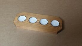 New 4 t-light holder, medium oak finish,quality handmade wooden candle holder,complete with t-lights