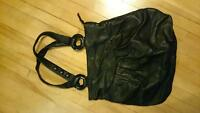 cute black pleather large purse