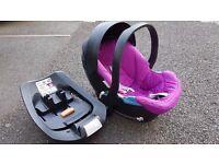 Mamas & Papas Cybex Aton Baby Car Seat (Pink) + Seat Belt Base + Rubix Adaptors (Group 0+)