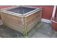 wooden patio pond 260 gallons 1.5 metres square 32 inch height