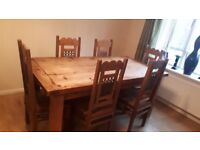 Rustic solid wood table with 6 chairs
