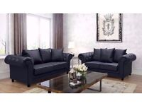 Brand New Bonded Leather Chesterfield Diamond 3 and 2 Seater Sofa Suite in Black with all cushions