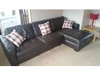 Brown Leather Corner Sofa with Foot-stool
