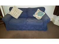 Blue fabric 2 seater sofa and armchair