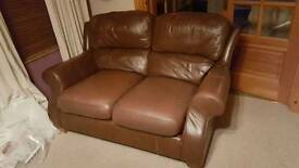 Price drop 3 + 2 leather style brown sofas