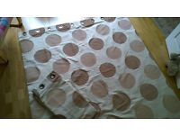Dunelm Quality Ring Top Curtains. Needlecord Cotton. Natural Modern Circles. 64w 72d. Near New