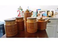 1970s Vintage Retro English Made Hornsea Pottery. Coffee, Tea, Sugar Jar Set, Coffee and Teapot.