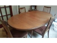 G Plan Extendable Table & 4 Chairs. Good condition.