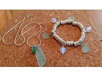 Pretty Scottish Sea Glass bracelet and necklace