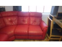 RED LEATHER CORNER SOFA, ELECTRIC RECLINER LOWERED PRICE