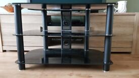 Black, Glass corner TV stand