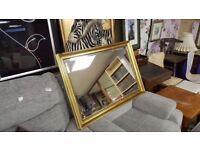 Large Gilt Framed Mirror With Beveled Glass
