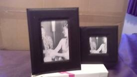 2 x Leather effect photo frames - New in original box