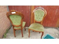 Vintage french louis styled antique dining chairs