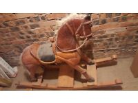 One of a kind rocking horse, beautiful woodwork, in need of little cosmetic repair