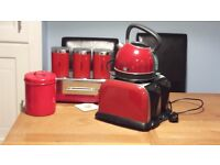 4 slice toaster, kettle, biscuit tin, tea, coffee, sugar tins in Red