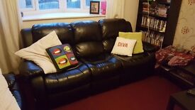*SOLD* Black leather sofa - Good condition