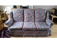 Three piece cottage suite. Really nice condition. seat and back and arm covers remove for cleaning.