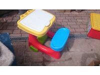 One piece plastic child's desk and bench