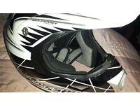 Wulfsport Star Flite Racing Helmet/Motorcross - Size Medium 58cm - White/Black - Excellent Condition