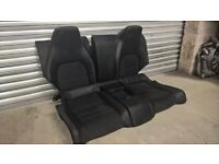 mercedes benz w204 c class coupe leather amg rear seats white/blue stitching