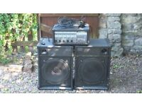 """Complete PA System - Peavey XR560 2x150W Mixer Amp + 2x15"""" Speaker Cabs"""