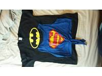 Batman and supdergirl fancy dress tops