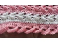 Hand knitted crochet baby blanket pink/white New