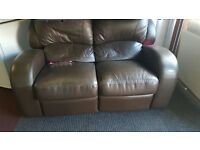 brown leather 2 seater reclining sofa for sale