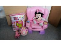 Pink toy bundle, minnie mouse, fisher price chair, mega blocks, learn to crawl moving ball