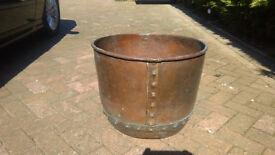 Antique copper, studded log bin/planter