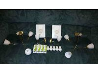 Brass Effect 3-Way Ceiling Lights x 2 & Wall Lights x 2