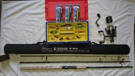 New Shakespeare sigma rod and reel complete with spinners and lures, suits trout and salmon