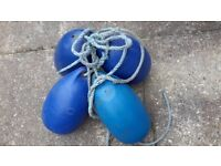 Boat fenders, blue, four fenders with lanyards