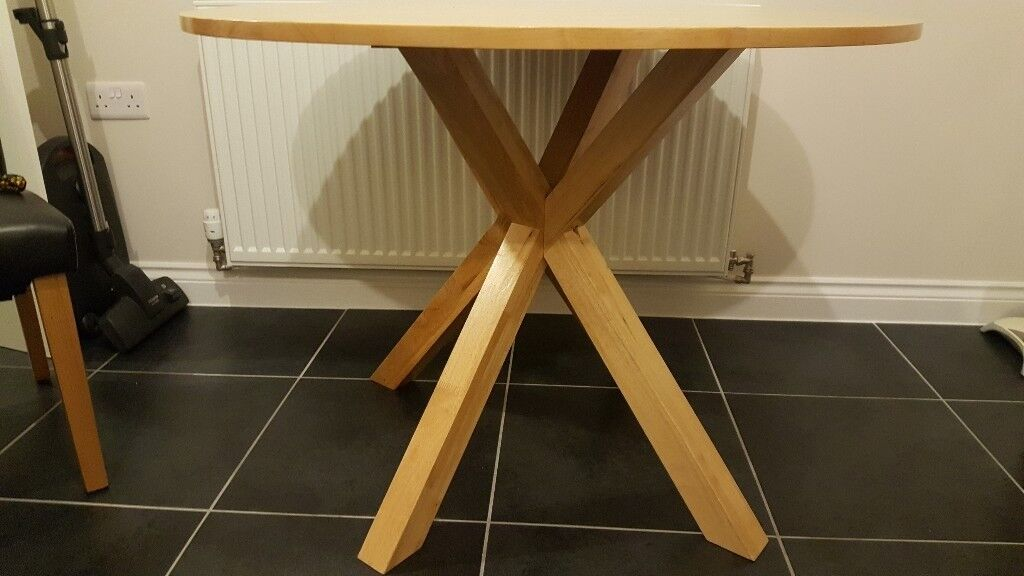 Round Wood Dining Table With Cross Legs In Newport Gumtree