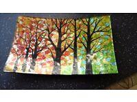 Decorative painted glass dish tree design