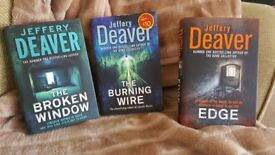 JEFFERY DEAVER HARD BACK BOOKS X3 THE BURNING WIRE, EDGE, THE BROKEN WINDOW
