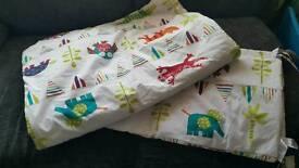 Cot bedding quilt and bumper set
