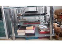 Glass and chrome TV shelved unit