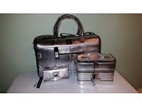 River Island Silver Metallic Weekend Bag with matching Vanity Case and Purse