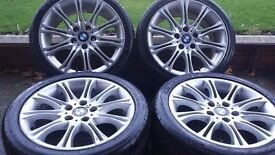 GENUINE BMW MV2 ALLOYS WITH WIDER REAR WHEELS READY BALANCED UP FOR 1,3 & Z SERIES