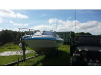 22ft arrowbolt. 75hp outboard + twin acle trailer