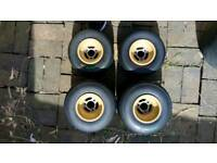 Otk go kart rims and tyres, gold/mustard (full set)