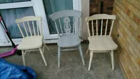 3 home/garden wooden chairs solid construction no damage ( used )