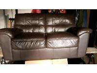 2 Seater Leather look sofa settee brown