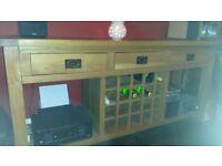 Oak 3 drawer console/wine console table